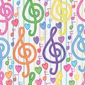 Music note vertical line watercolor seamless pattern Royalty Free Stock Photo