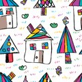 House tree bird free drawing seamless pattern