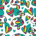 Mushroom love free drawing seamless pattern Royalty Free Stock Photo