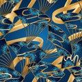 Japan fan cloud line long 3d blue gold seamless pattern