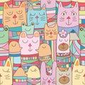 Kokeshi animal many seamless pattern