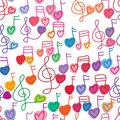 Love music note free paint seamless pattern