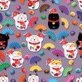 Maneki Neko fat Koi daruma colorful fan many seamless pattern Royalty Free Stock Photo