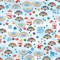 Maneki Neko sky blue Fu rainbow line fan seamless pattern Royalty Free Stock Photo