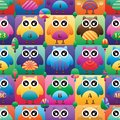 Owl big eye square symmetry color seamless pattern