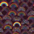 Rainbow star love diamond shape seamless pattern