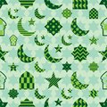 Ramadan element cut green pastel symmetry seamless pattern