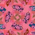 Japan fan rotate seamless pattern Royalty Free Stock Photo