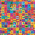 Sea animal square style colorful seamless pattern