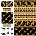 Arabic palm camel luxury black gold demo seamless pattern
