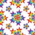 Star ray rainbow color symmetry seamless pattern