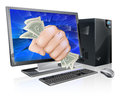 Illustration desktop computer fist full dollars breaking out screen Stock Photography