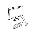 Illustration of desktop pc a black and white computer workstation monitor mouse keyboard hand drawn Royalty Free Stock Image
