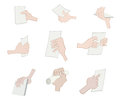 Illustration different actions hand holding paper Stock Photos