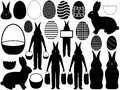 Illustration different easter elements isolated white background Stock Images
