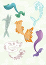 Illustration different mermaids tails Stock Image