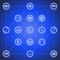 Illustration of different tool icons for smart phone such as pc mail camera play navigate and other on blue background Royalty Free Stock Photos