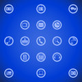 Illustration of different tool icons for smart phone such as pc mail camera play navigate and other on blue background Stock Images