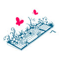 Illustration of a dirty keyboard grassy covered by vegetation Stock Image