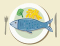 Illustration dish fish chips Stock Photos