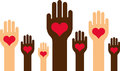 An illustration of diverse hands with hearts rising up on a white background Stock Photography