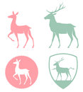 Illustration of a doe and deer stylized in pastel colors Royalty Free Stock Photos