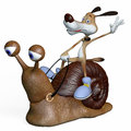 Illustration the dog goes on a snail competition speed Royalty Free Stock Image