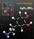 Illustration of Dopamine Molecule isolated black background Royalty Free Stock Photo