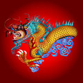 Illustration of dragon icon on red background Stock Photo