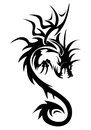 Illustration dragon symbol wing isolated white background cool tattoo Stock Photo