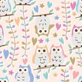 Owl pastel colorful flower branch seamless patterm