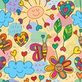 Cloud flower love unsteady drawing seamless pattern
