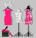 Illustration of a dress on a mannequin, shoes and gift wrapping. mannequin with fashion women summer clothing. Royalty Free Stock Photo