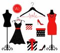 Illustration of a dress on a mannequin, shoes and gift wrapping. Royalty Free Stock Photo