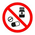 Drugs icon in prohibition red circle, No doping ban or stop sign, medicine forbidden symbol. Royalty Free Stock Photo