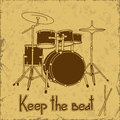 Illustration of drum set on a vintage background Royalty Free Stock Photo