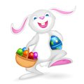 Illustration easter bunny holding basket colorful egg Royalty Free Stock Photography