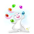 Illustration easter bunny juggling colorful egg Stock Photo
