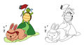 Illustration of educational coloring book-turtle and rabbit Royalty Free Stock Photo