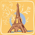 Illustration eiffel tower with flowers and backgro frame yellow background Stock Images