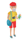 Illustration of elderly man tourist  on white background in flat style. Grandfather holding bags and booklet in his hands. Royalty Free Stock Photo