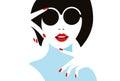 Illustration elegant girl in glasses.