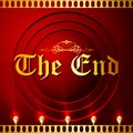 Illustration of the end screen with film strip background Royalty Free Stock Images