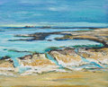 Illustration of an english seascape with chalk rocks original painting a beach and painted in margate kent there are and sand in Royalty Free Stock Images