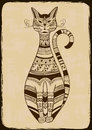 Illustration with ethnic patterned cat vintage Royalty Free Stock Image