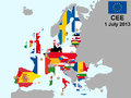 Illustration of european union map with flags from july Royalty Free Stock Photography