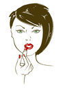 Illustration with face of woman aplying lipstick Stock Images