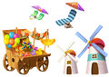 Illustration: Fantastic Tropical Beach Elements Set 4. Grocery Cart, Tower, Beach Chair etc.