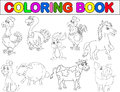 Illustration farm animal coloring book Stock Images