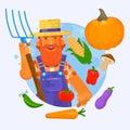 Illustration of a farmer holding a garden fork wearing hat with vegetables. Vector illustration